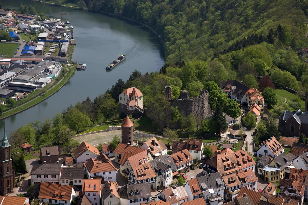 Blick auf Dilsberg und den Neckar