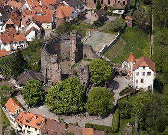 Luftansicht der Burgfeste Dilsberg