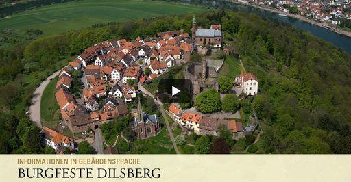 """Startbildschirm des Filmes """"Burgfeste Dilsberg: Informationen in Gebärdensprache"""""""