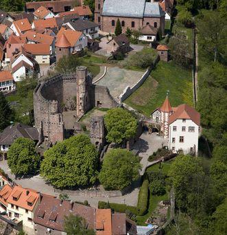 Luftansicht der Burgfeste Dilsberg; Foto: Staatliche Schlösser und Gärten Baden-Württemberg, Achim Mende