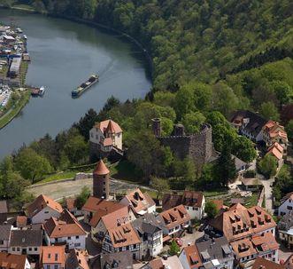 Blick auf Dilsberg und den Neckar; Foto: Schlösser und Gärten Baden-Württemberg, Achim Mende